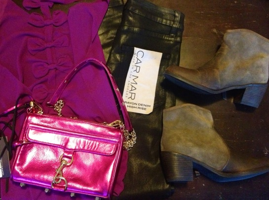 Millau Bow Tank Top, CARMAR Denim Black Wax High Waisted Jeans, Rebecca Minkoff Mini M.A.C. Bag, Mystique Boots